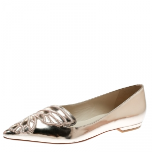 Sophia Webster Metallic Rose Gold Leather Bibi Butterfly Pointed Toe Ballet Flats Size 37.5