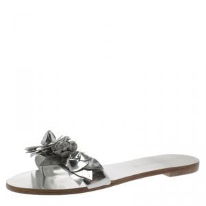 Sophia Webster Metallic Silver Leather Lilico Floral Embellished Flat Slides Size 36.5