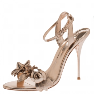 Sophia Webster Metallic Rose Gold Leather Lilico Floral Embellished Ankle Wrap Sandals Size 36.5