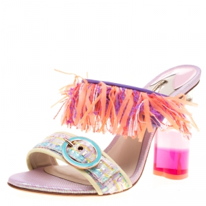 Sophia Webster Multicolor Leather And Tweed Fabric Darla Fringe Buckle Slides Size 36