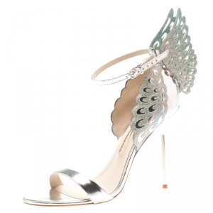 Sophia Webster Metallic Silver Leather Evangeline Glitter Wings Open Toe Sandals Size 39.5