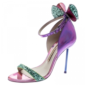 Sophia Webster Metallic Iridescent Pink Leather Maya Crystal Embellished Bow Ankle Strap Sandals Size 35.5