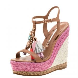 Sophia Webster Brown Leather Lucita Tassel Detail Espadrille Wedge Sandals Size 35.5