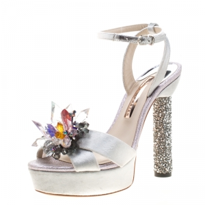 Sophia Webster Grey Velvet And Coarse Glitter Glacia Crystal Embellished Platform Sandals Size 38