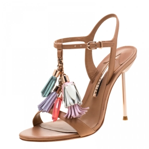 Sophia Webster Brown Leather Layla Fringe Tassel Sandals Size 37.5