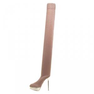 Charlotte Olympia Beige Glitter Jersey More Is More Thigh High Platform Boots Size 36.5