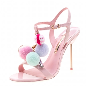 Sophia Webster Pink Patent Leather Layla Pom Pom Embellished T-Strap Sandals Size 38.5