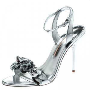 Sophia Webster Metallic Silver Leather Lilico Floral Embellished Ankle Wrap Sandals Size 39.5