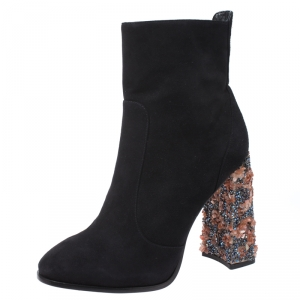Sophia Webster Black Suede Leather Felicity Ankle Boots Size 41 -