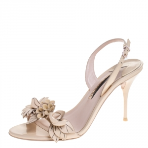 Sophia Webster Beige Patent Leather Lilico Applique Ankle Strap Sandals Size 39