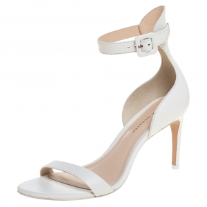 Sophia Webster White Leather Nicole Ankle Cuff Sandals Size 37.5 -