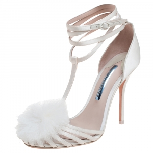 Sophia Webster Cream White Satin and Faux Fur Detail Ankle Strap Sandals Size 39