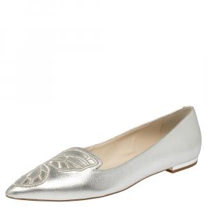 Sophia Webster Silver Leather Bibi Butterfly Flats Size 38.5