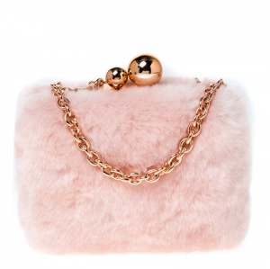 Sophia Webster Light Pink Faux Fur Vivi Bella Chain Clutch