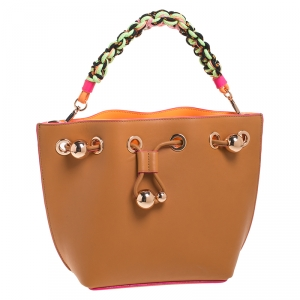 Sophia Webster Brown Leather Romy Drawstring Bucket Bag