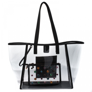 Sophia Webster Clear/Black Dina PVC and Leather Tote