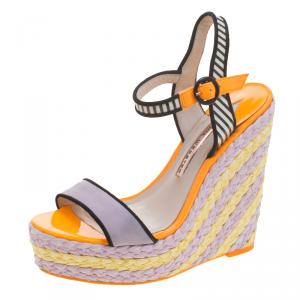 Sophia Webster Multicolor Suede and Patent Leather Lucita Espadrille Wedges Size 36