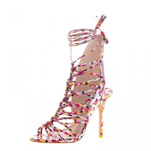 Sophia Webster Metallic Multicolor Printed Leather Lacey Tie Up Sandals Size 37