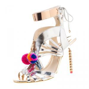 Sophia Webster Metallic Silver Mirrored Leather Yasmina Pom Pom Embellished Sandals Size 40.5