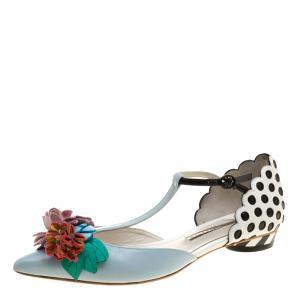 Sophia Webster Multicolor Leather T Straps Lilico Flower Flat Sandals Size 36
