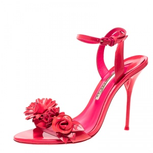 Sophia Webster Fluorescent Pink Patent Leather Lilico Floral Embellished Ankle Wrap Sandals Size 39