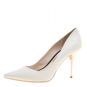 Sophia Webster White Leather Lola Pointed Toe Pumps Size 37.5