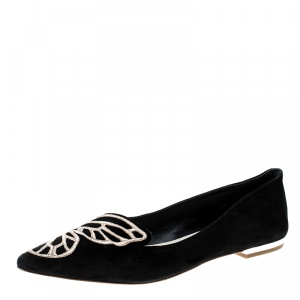 Sophia Webster Black Embroidered Suede Bibi Butterfly Pointed Toe Ballet Flats Size 37.5
