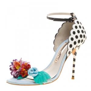 Sophia Webster Multicolor Leather Lilico Flower Embellished Ankle Strap Open Toe Sandals Size 36.5