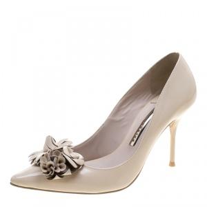 Sophia Webster Beige Patent Leather Lilico Floral Embellished Pointed Toe Pumps Size 36.5
