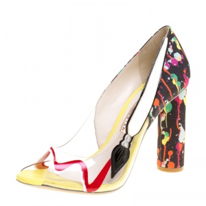Sophia Webster Multicolor PVC and Fabric Party Like Pollock Peep Toe Pumps Size 37