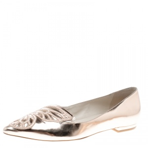 Sophia Webster Metallic Rose Gold Leather Bibi Butterfly Pointed Toe Ballet Flats Size 37