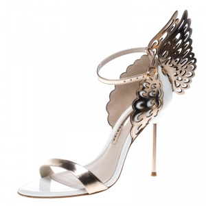 Sophia Webster White and Laser Cut Rose Gold Leather Evangeline Open Toe Sandals Size 38.5