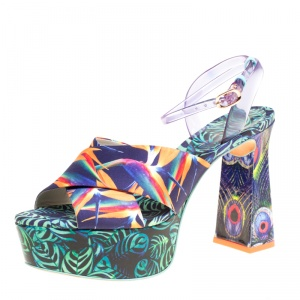 Sophia Webster Multicolor Printed Satin and PVC Effie Cross Strap Platform Sandals Size 39