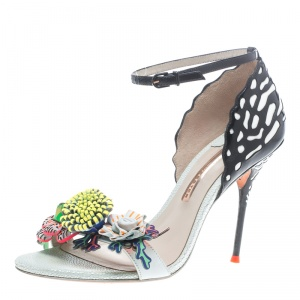 Sophia Webster Multicolor Leather Lilico Flower Embellished Ankle Strap Open Toe Sandals Size 40