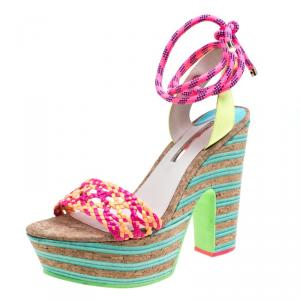 Sophia Webster Multicolor Braided Leather Jade Cork Platform Ankle Wrap Sandals Size 41