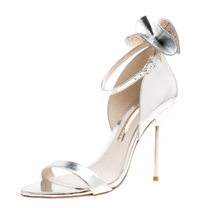 Sophia Webster Metallic Silver Leather Maya Crystal Embellished Bow Ankle Strap Sandals Size 39.5