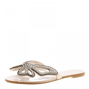Sophia Webster Beige Butterfly Crystal Embellished Suede and PVC Madame Flat Sandals Size 37