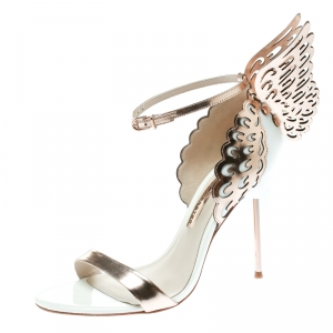 Sophia Webster Rose Gold/White Leather Evangeline Laser Cut Angel Wing Ankle Strap Sandals Size 40.5