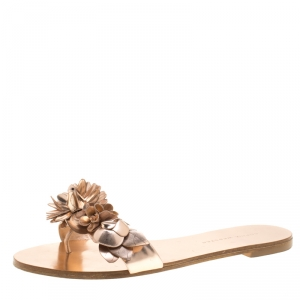 Sophia Webster Metallic Rose Gold Leather Lilico Floral Embellished Flat Slides Size 38