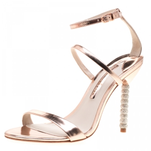 Sophia Webster Rose Gold Leather Rosalind Crystal Heel Ankle Strap Sandals Size 39