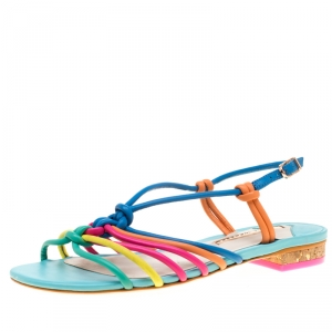 Sophia Webster Multicolor Leather Cord Copacabana Flat Sandals Size 37.5