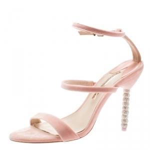 Sophia Webster Pink Velvet Rosalind Crystal Heel Ankle Strap Sandals Size 40