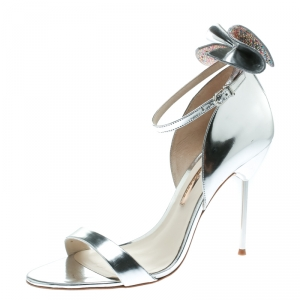 Sophia Webster Metallic Silver Leather Maya Crystal Embellished Bow Ankle Strap Sandals Size 39