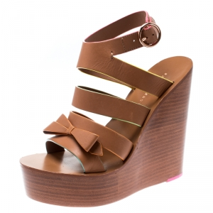 Sophia Webster Brown Leather Samara Strappy Wedge Platform Sandals Size 36