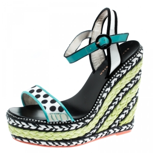 Sophia Webster Multicolor Polka Dot Canvas And Leather Lucita Espadrille Wedges Sandals Size 36.5
