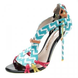 Sophia Webster Multicolor Zig Zag Print Leather Liberty Fringe Detail Sandals Size 36