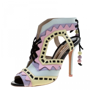Sophia Webster Multicolor Glitter And Leather Riko Cut Out Sandals Size 37