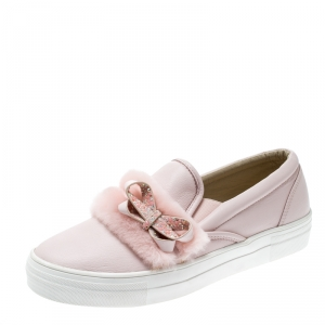 Sophia Webster Pink Leather And Faux Fur Bella Embellished Bow Slip On Sneakers Size 41