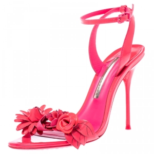 Sophia Webster Fluorescent Pink Patent Leather Lilico Floral Embellished Ankle Wrap Sandals Size 37.5