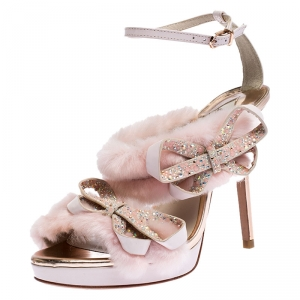 Sophia Webster Pink Faux Fur And Leather Bella Bow Embellished Ankle Strap Sandals Size 37